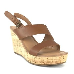 Franco Sarto Cadelle Wedge Brown Leather Sandal